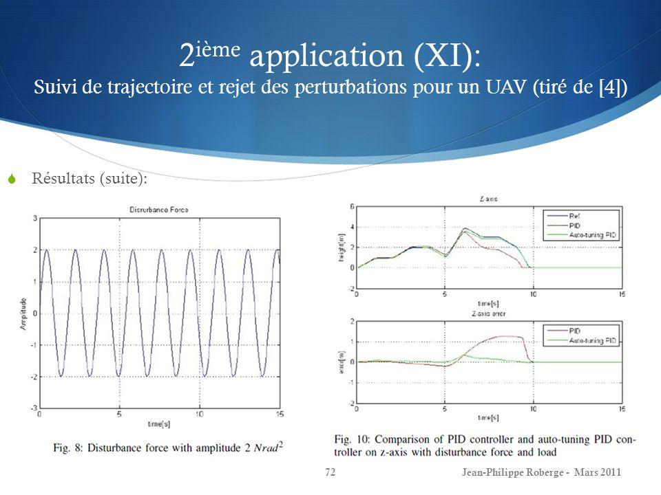 2ième application (XI): Suivi de trajectoire et rejet des perturbations pour un UAV (tiré de [4])